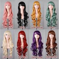 Parrucca sintetica capelli economici multicolore Moda Anime resistente al  calore capelli 80 centimetri ondulati lunghi parrucche Cosplay per  Halloween Party ... af75e7a2e7f