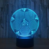 Wholesale Football Usb Optical Mouse - Koln Soccer Football Style 3D Optical Illusion Lamp Night Light 7 RGB Lights DC 5V USB Charging AA Battery Dropshipping Free Shipping