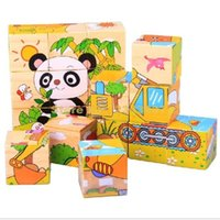 Wholesale Vegetable Farms - Wholesale- 2sets Wooden Children Early Learning Toy Six Sides Animals Vegetables Farm Cube Puzzle 1set=6designs