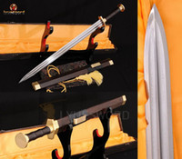 Wholesale HAND CRAFTED FULL TANG CHINESE SWORD JIAN FOLDED STEEL SHARP BLADE EBONY WOOD SCABBARD HIGH QUALITY BRASS Fitting