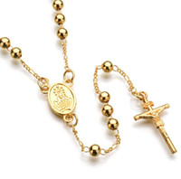 Wholesale Jesus Beaded Chain - Hiphop Necklace Europe Style JESUS Cross Pendant Long Beaded Necklace Hip Hop Religion Jewelry for Men Free Shipping