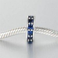 ingrosso bandiera pandora libera-Charms blu perline distanziatore autentico S925 argento adatto per braccialetto e collana in stile pandora braccialetto spedizione gratuita aleLW617B
