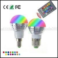 Wholesale E27 Rgb Led Spot 5w - LED RGB Bulb Lamp E27 E14 AC85-265V 5W LED RGB Spot Blubs Light Magic Holiday RGB lighting+IR Remote Control 16 Colors LLWA061