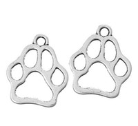 paw charm bronze 2018 - Vintage Silver Bronze Animal Cat Dog Collar Tag Pet Paw Charms Pendant For Jewelry Making Findings Bracelets Gifts 100PCS Z1310
