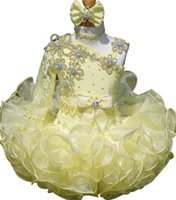 Wholesale New Cupcake Pageant Dresses - Cute Kids Bowswaist Skirt Organza Long Sleeve Infant Flower Baby Beaded Mini Cupcake Baby Glitz Girls Pageant Dresses 2016 New