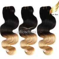 ombre welliges haar weben großhandel-Brasilianisches Ombre-Haar-Menschenhaar-Erweiterungs-Körper-Wellen-gewelltes Haar spinnt Dip DyeT # 1B / # 27 Farbe Ombre-Menschenhaar-freies Verschiffen Bella-Haar