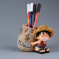 Anime One Piece Luffy Resin Escritório Pen Holders Collectible Monkey D Luffy 10cm Desk Pencil Pot Holder Kids Action Figure Boy Toy
