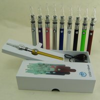 kit de iniciação dupla evod venda por atacado-Mais novo eGo EVOD Bateria Starter Kit com ecigs globo de vidro dual coil cera erva seca Vaporizador Atomizador tanque vape pen box mod kits