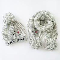 Wholesale Furry Winter Hats - Wholesale Ash Toddler Furry Hat &Scarf Set Eye Embroidery Crochet Baby Beanies Kids Fall Winter Baby Cap Handmade Windproof Earmuffs Cap
