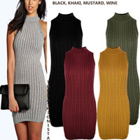 Wholesale Basic Dresses - Best Quality Womens Bodycon Strappy Bralet Midi Party Dress Ladies High Neck Knit Sleeves Dresseless Womens Clothing Basic Styles Apparel