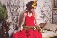 Wholesale Children Halter Long Gown - 2017 Cute Halter Neck Flower Girl Dresses Red Ruffles Pleats Long Kids Girls Formal Wears Themed Weddings Children Party Gowns with Straps