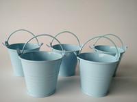 cubos de lata azul al por mayor-Azul claro pequeño huevo de Pascua ollas, baldes de hojalata, mini baldes, cubo de metal cubo de caramelo / paquete / para Succulents