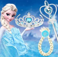 Wholesale Princess Crown Wand Wholesale - Hot Headwear Crown Wig Wand Gloves Party Dress Up Princess Party Accessory New Arrival 4pcs lot IB397