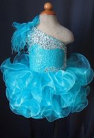 Wholesale Toddler Girl Feather Dresses - Toddler Pageant Dresses Blue One Shoulder Lace Up Cupcakes Girl Pageant Gowns Crystal Beaded Lace Organza Ruffles Little Kids Prom Dress