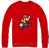 Wholesale Mario Sweater - Free shipping hiphop clothing Mario Running printed sweatshirts for spring autumn winter Unisex Sweater 8 colors Fleece sweatshirt