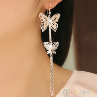 Wholesale Butterfly Layer Earrings - Wholesale-Women's Double Layers Butterfly Long Tassels Rhinestone Hook Linear Earrings 1PMS