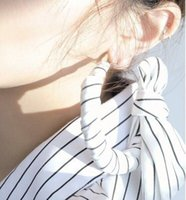 Wholesale Big Fashionable Earrings - High quality Fashionable white striped bow tie exaggerates big circle hoop earrings nightclub party big earrings