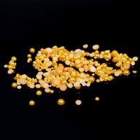 Wholesale Half Pearls For Scrapbooking - Half Round Craft Pearls Gold Color 1.5-9mm Flatback Imitation Non Hotfix Resin Beads For Scrapbooking Accessories DIY Nails Art