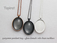 Wholesale Oval Pendant Trays - 10 kit 30x40mm Oval Pendant Trays, Oval Cabochon Setting Pendant Blank + Rolo Chain Necklace + Glass Cabochon