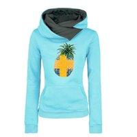 Wholesale Sweden Female - 2017 New Women Autumn Winter Pineapple Sweden Print Fashion Tops Female Lapel Hoodie