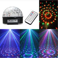 Wholesale Mp3 Led Ball - LED MP3 DJ Disco Party Club DMX512 Crystal Magic Ball Stage Laser Light 18W RGB Light