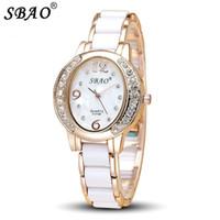 vestidos de imitación de la marca al por mayor-SBAO marca de moda de lujo reloj de cuarzo de las mujeres de imitación de cerámica moda casual rhinestone girl reloj de las señoras vestido de relojes de pulsera