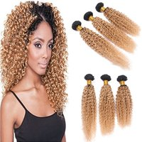 Kinky Curly Peruvian Honey Blonde Ombre Human Hair Bundles 3Pcs Lot 1B / 27 Dark Root Light Brown Ombre Virgin Cheveux humains tisse les extensions