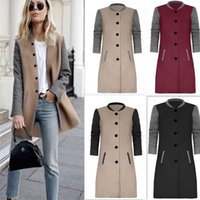 Wholesale Coat Wool Female - 2017 Women Wool Blends Winter Autumn Jacket Long Women Coat Slim Suit Collar Long Style Soild Woolen Coat Female Jacket