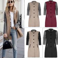 Wholesale Woman Wool Collar Coat - 2017 Women Wool Blends Winter Autumn Jacket Long Women Coat Slim Suit Collar Long Style Soild Woolen Coat Female Jacket