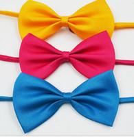 Wholesale solid kid bowties resale online - 24 colors kids show bow neck ties cut kids sport bowties festival kids decoration neckwear ties