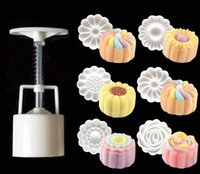 ingrosso stampo a forma di luna-7PCS / Set 3D Moon Cake Mold 1 Hand Press con 6 Flower Shape 50g Mid Autumn Arch Moon Stampi per dolci Pane Biscotti Maker
