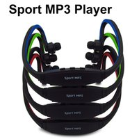 Wholesale sd tf card headphones - Portable Wireless Headphones Sport MP3 Player Earphones Headset Music Player Support Micro SD TF Card FM Radio for Gym Running