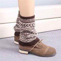 Wholesale jacquard knitted legging - Wholesale-Hot Marketing Jacquard Knitted Leg Warmers Socks Boot Cover Jun15
