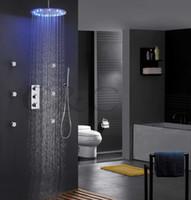 regenschauer farben groihandel-Zeitgenössische Bad Dusche Mischbatterie Set 16-Zoll-LED 3 Farben Thermostat Sensitive Rain Rain Duschkopf Massage-Spray-Düsen