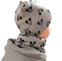 Wholesale Boys Grid Set Suits - 2017 new cotton star mouse love xx army grid print baby beanies +scarf sets boys girls caps & collars suits children kids hats