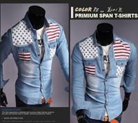Wholesale Long Sleeve American Flag Shirt - Hot Fashion Men Denim Shirt with American Flag turn-down collar long Sleeve Casual Shirt Free Shipping 2color 4size