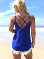Wholesale Loose Sleeveless Tees Women - Women Stretchy Camisole Spaghetti Strap Tank Top Summer Sexy Slip Vest Loose Gym Tops Fitness Sport Tees Sleeveless Hollow Out Vest