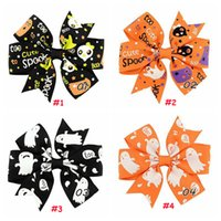 Wholesale Chevron Baby Ties - Halloween hair bows clip spook Hair Tie Rope Band cartoon baby pumpkin chevron Hair bobbles Elastic Hair Band