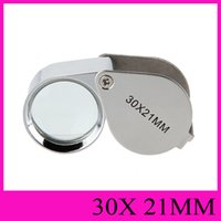 Wholesale Jewellers Loupe Magnifier Eye Glass - 30X Loupes Jewelry Loupe 30X21mm Magnifying Glass Magnifier Mini Triplet Eye Glass Jeweller Magnifier Jewel Microscope Folding Diamond Loupe