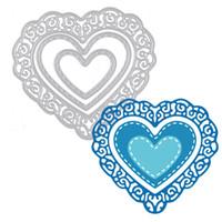 Wholesale heart die cut - 1 PC Tri-Heart Metal Cutting Dies for DIY Scrapbook Album Photo Card Creation Decor Gift Decor Embossing Folder Template