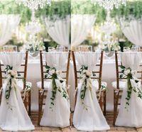 стулья для свадебных торжеств оптовых-Слоновая кость стул створки для свадьбы с большой 3DChiffon нежный свадебные украшения стул охватывает стул створки свадебные аксессуары
