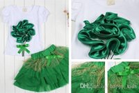 Wholesale Girl Short Flowers - Kids Dress Hot Girls Summer Short Sleeve and Flower Adornment Suit Children Sweet Net Yarn and Bowknot Dress Two Suit