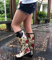 Wholesale Skull Knee Boots - Free shipping Skull rose glossy print black butterfly women rubber transparent rain boots women shoes