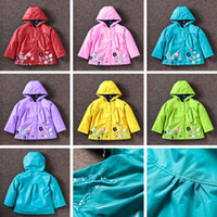 Wholesale Raincoats For Babies - For children clothing girls Outwear coat lovely flowers weatherproof raincoat Jackets for girls Baby Kids Clothing 569