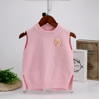 Wholesale Children S Jumpers - Autumn new baby knitted sweater fashion solid color core wire round neck collar sweater vest children 's clothing