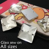 Wholesale Square Crystal Beads 14mm - Crystal Clear Color 2holes Sewing Glass Crystal Beads 10mm,12mm,14mm,16mm,22mm Flatback Square Shape Sew On Stone