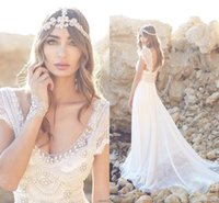 Wholesale Empire Style Wedding Dresses - Anna Campbell Beach Wedding Dresses Lace 2016 A Line V neck Pearl Beads Cap Sleeves Plus Size wedding Style Arabic Bohemian Bridal Gowns