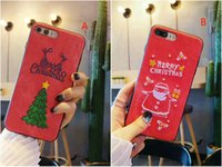 Wholesale Red Apple Trees - For iPhoneX 7 6 6Splus Embroidered Christmas Tree Santa Claus pattern red phone case TPU+PC hard cover for iPhone8 8plus