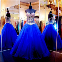 Wholesale Sexy Corsets For Size 12 - Corset Bodice Tulle Royal Blue Luxury Crystals Beaded Ball Gowns Prom Gowns 2016 See Through Custom Made Long For Pageant Womens Evening
