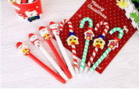 Wholesale Plastic Red Christmas Balls - Cute Christmas Snowman Ceramic Ball Pen crutches Cartoon Christmas Santa Claus Ballpoint Office School Stationery